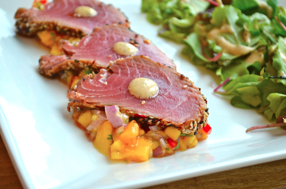 Pan-Seared Sesame-Crusted Tuna Recipe — Dishmaps