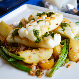 Warm Cuttlefish and green bean salad