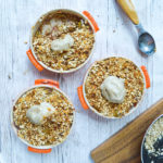 Pear and Plum Crumbles with Banana Ice-cream