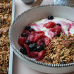Crunchy Cinnamon & Maple Granola with Berry Compote