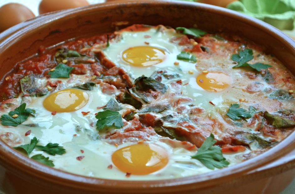 Baked Eggs in Spinach and Tomato