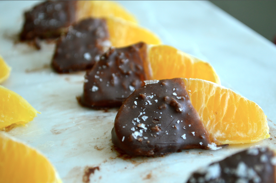 Sea Salt & Raw Chocolate Dipped Oranges