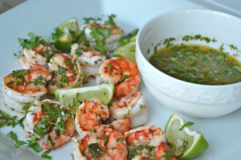 Garlic & Lime Grilled Prawns with Cilantro Dip