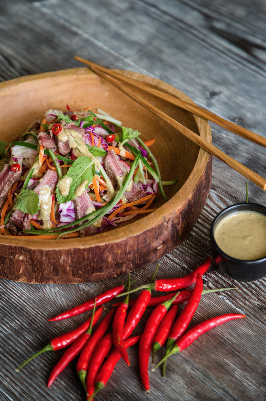 Raw Thai Beef Salad with Penut dressing