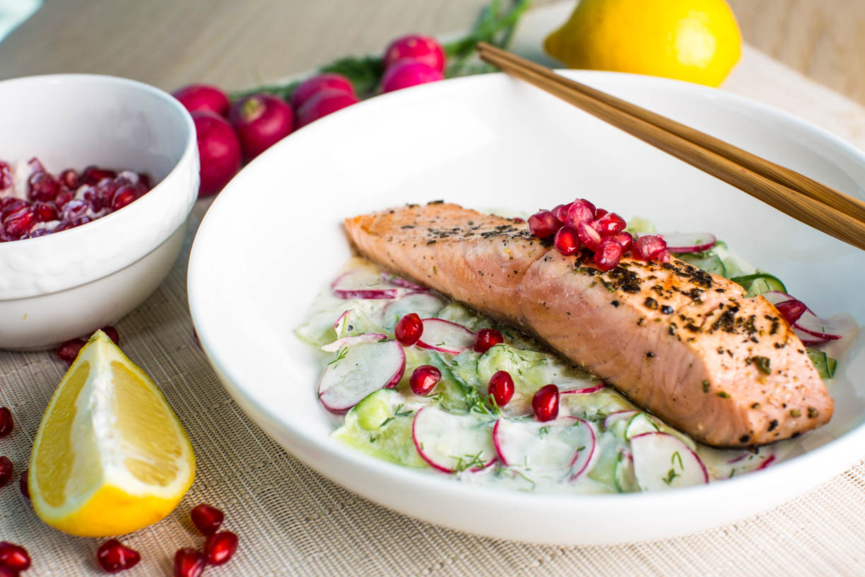 Greek Salmon with Cucumber and Dill Salad