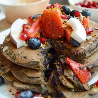 Fluffy Blueberry and Buckwheat Pancakes