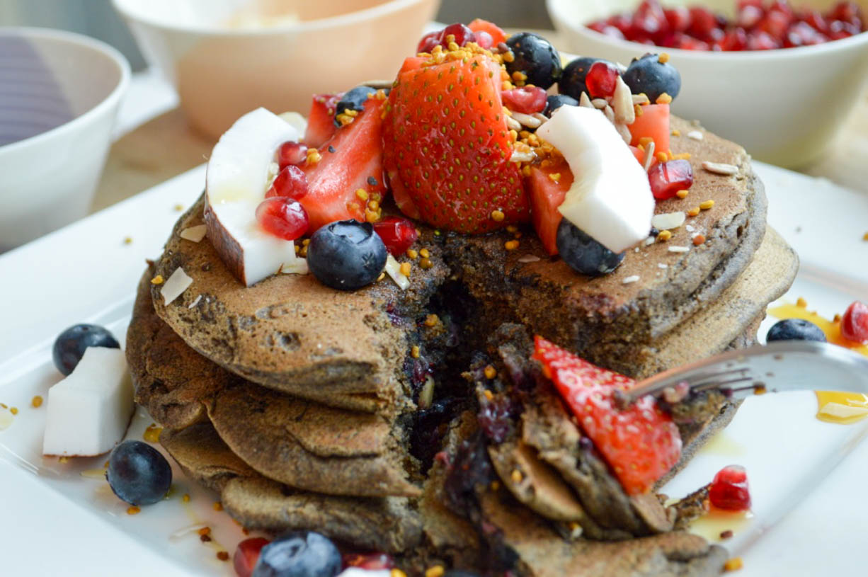 Blueberry and Buckwheat Pancakes