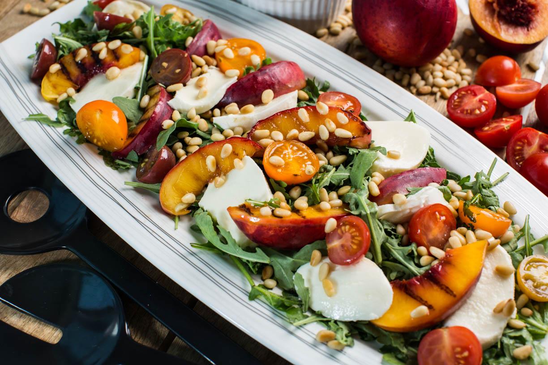 Grilled nectarine and mozarella salad