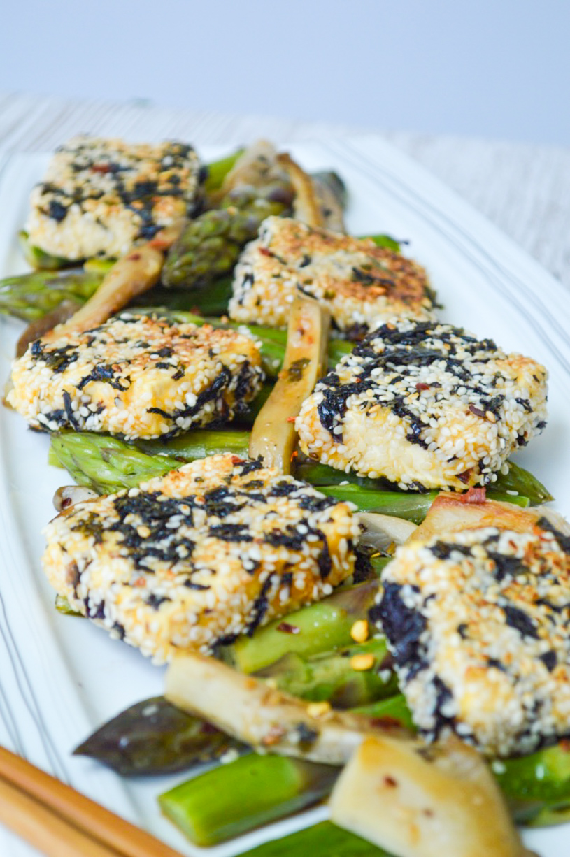 Crispy tofu and Asparagus