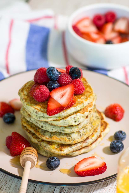 Greek Yoghurt, Lemon and Chia Seed Pancakes