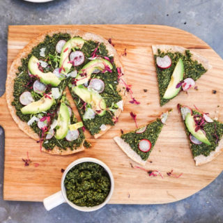 Kale Pesto and Avocado Flatbreads