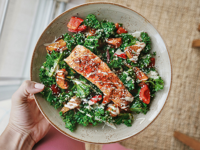 Kale, Roasted Salmon & Root Veg Salad