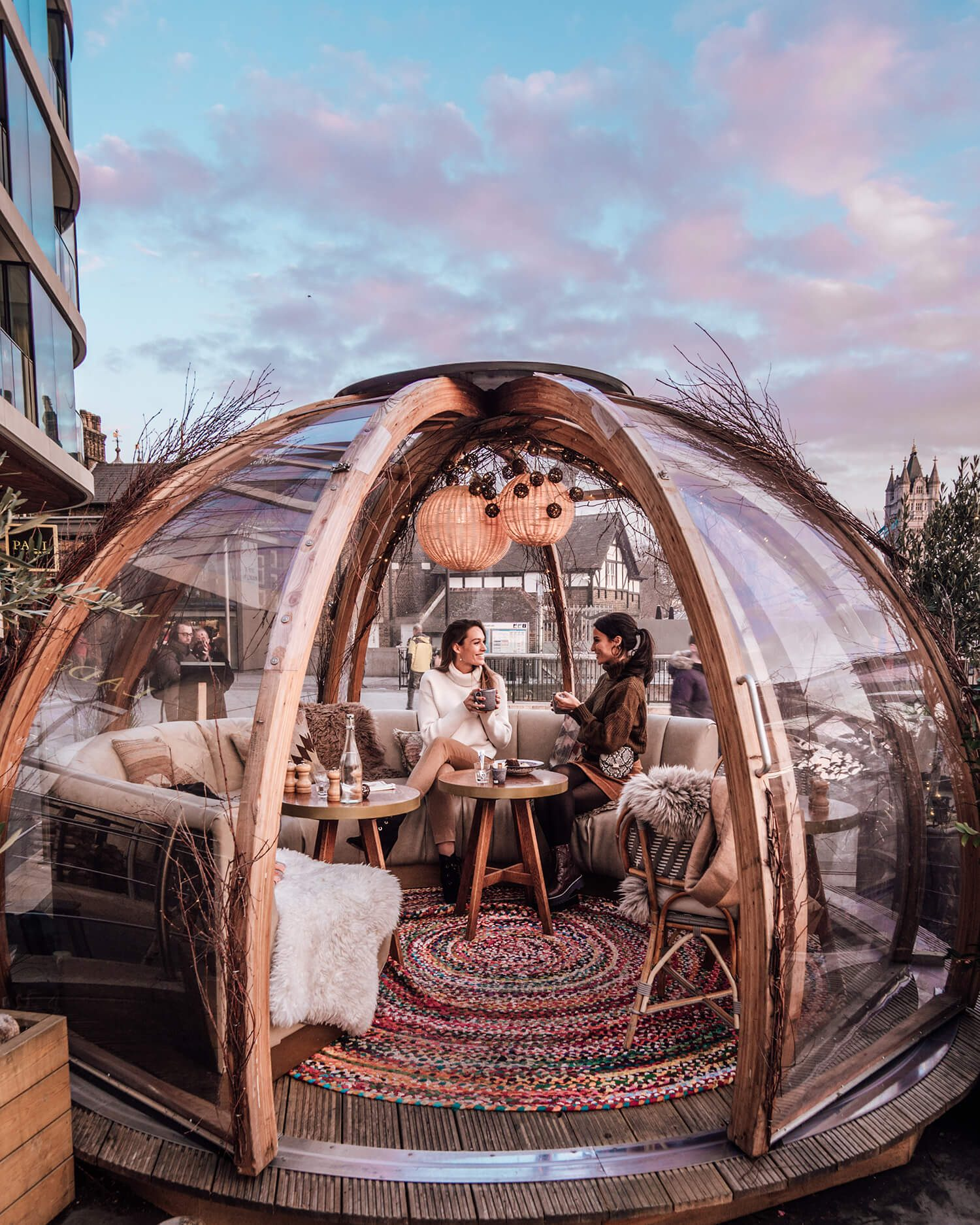 Cosy Lunchtimes in London Winter Igloos