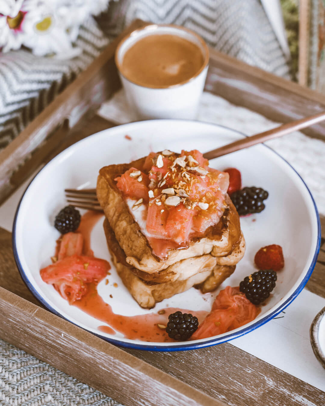 Poached Rhubarb French Toast